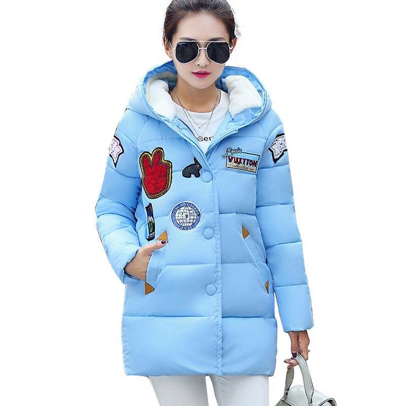 New Winter Women Down Cotton Jacket Plus Size Long Thick Parkas Female Hooded Cotton Padded Fashion Warm Coat Outerwear 3 colors l 2xl 2015 new women winter down cotton padded coat female long hooded wide waisted jacket zipper outerwear zs247