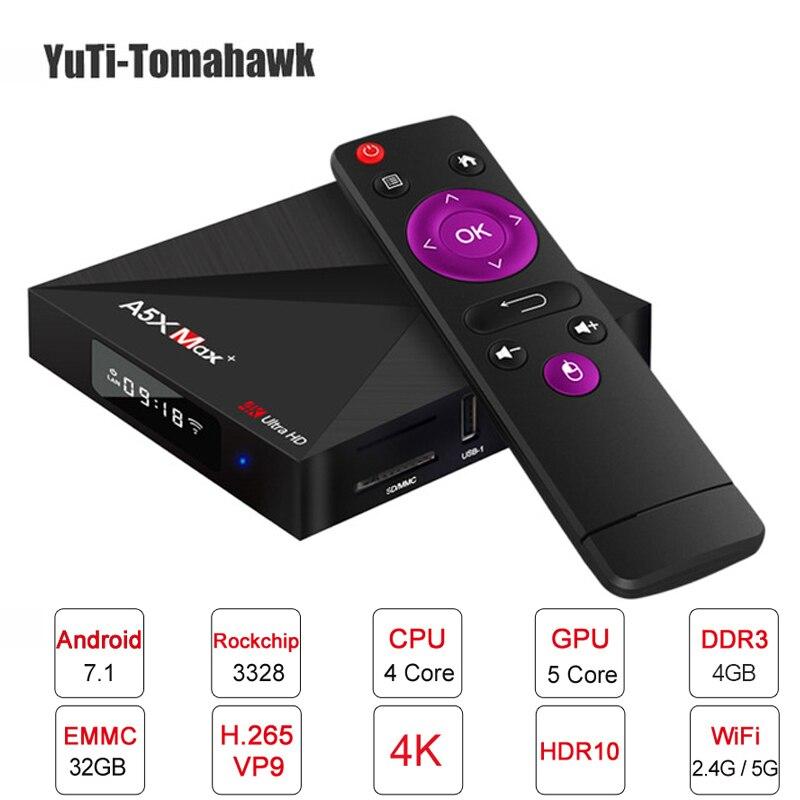 A5X Max 4 gb 32 gb Astuto di Android 8.1 TV Box RK3328 Quad-Core 2.4g/5g wiFi 1000 m LAN BT 4.1 VP9 H.265 4 k Media Player mini pc