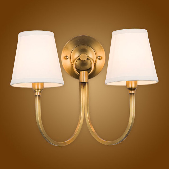 Modern Wall Lamp Full Copper Wall Sconces Fabric Lampshade Bathroom Mirror  Light Home Lighting Luminaire
