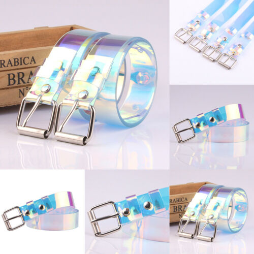 Women Transparent Rainbow Punk Clear Buckle Wide Waist Circle Belt Waistband