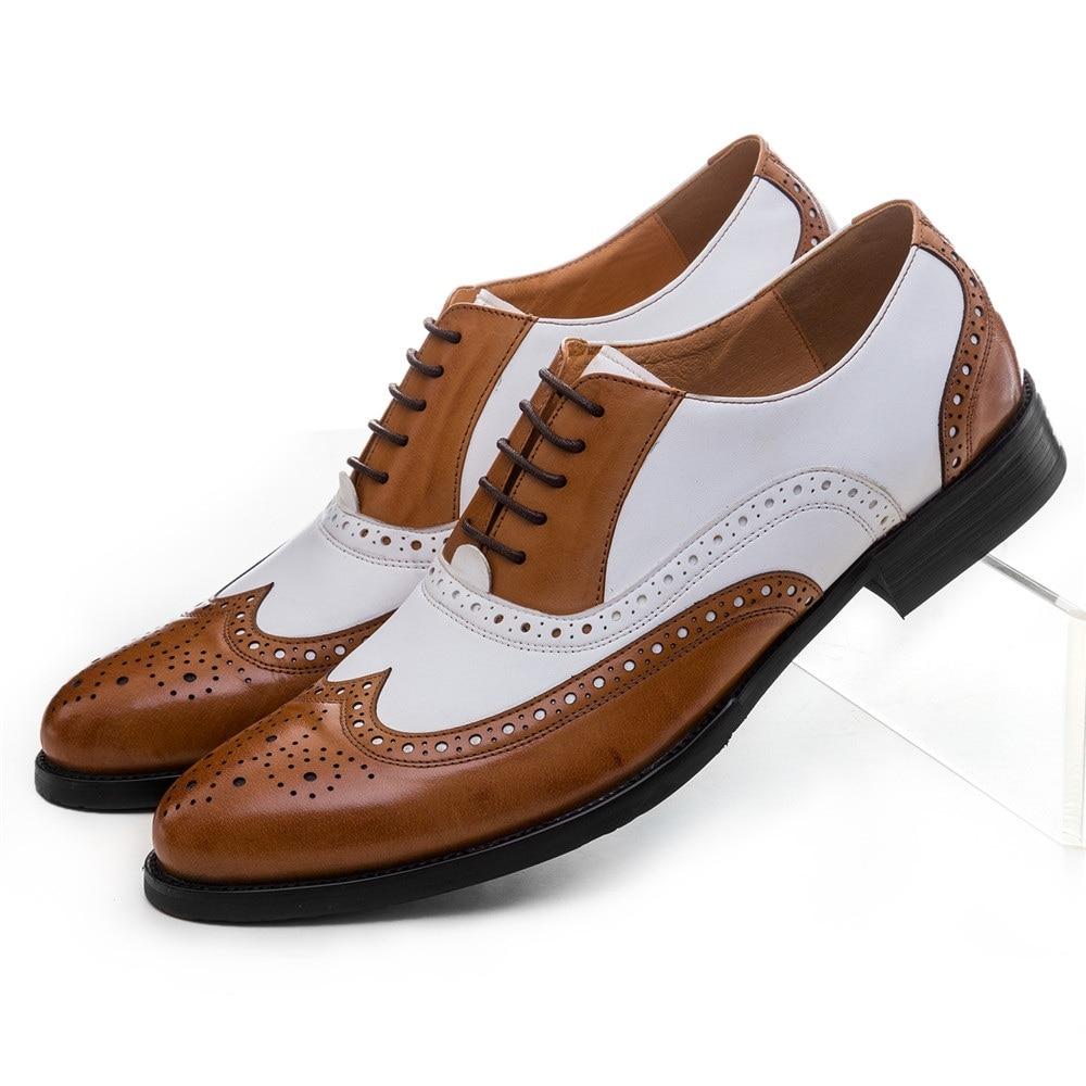 Large Size Eur45 Black White Brown White Mens Wedding Shoes