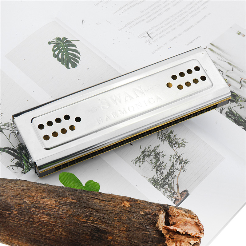 Swan Tremolo Harmonica 24 Holes Double Sides C/G Key Musical Instruments High-end Woodwind Harmonicas Harp mouth organ melodica
