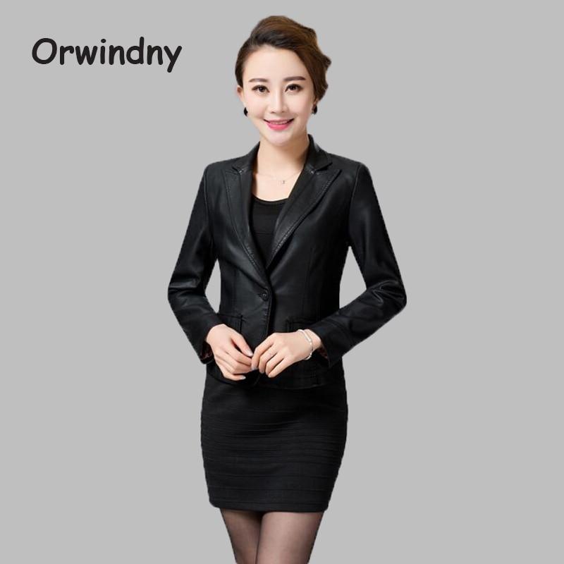 2019 Fashion   Leather   Casaco Feminino New Women's Autumn And Winter Jacket Slim Abrigos Mujer Hot Sale Parkas Size M--4XL