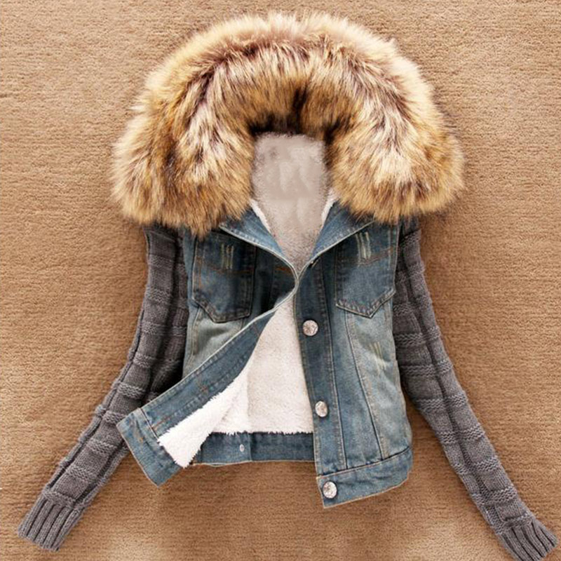 2016 Women Winter Autumn Short <font><b>Jeans</b></font> Denim Jacket Coat Slim Faux Fur Collar Knitted <font><b>Sleeve</b></font> Outerwear Plus Size 5XL H9