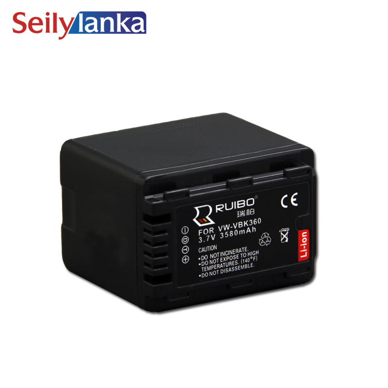 3580mAh for Panasonic VW-VBK360 SD40 SD60 SD80 SD90 SDX1 Camera Battery 3.7V Camcorder HS80 TM80 H101 S71 SD90 ...