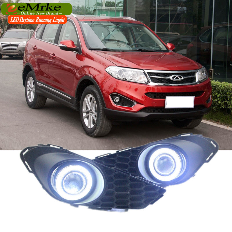 EEMRKE Car Styling For Chery Tiggo 5 2014 2015 COB LED Angel Eye DRL H11 55W Halogen Fog Lights Lamp Daytime Running Light eemrke for toyota vios yaris belta 2007 2013 led angel eye drl daytime running light halogen yellow h11 55w fog lights