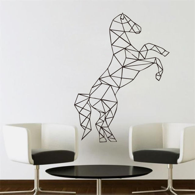 living room wall decal full of spirit horse geometric wall stickers