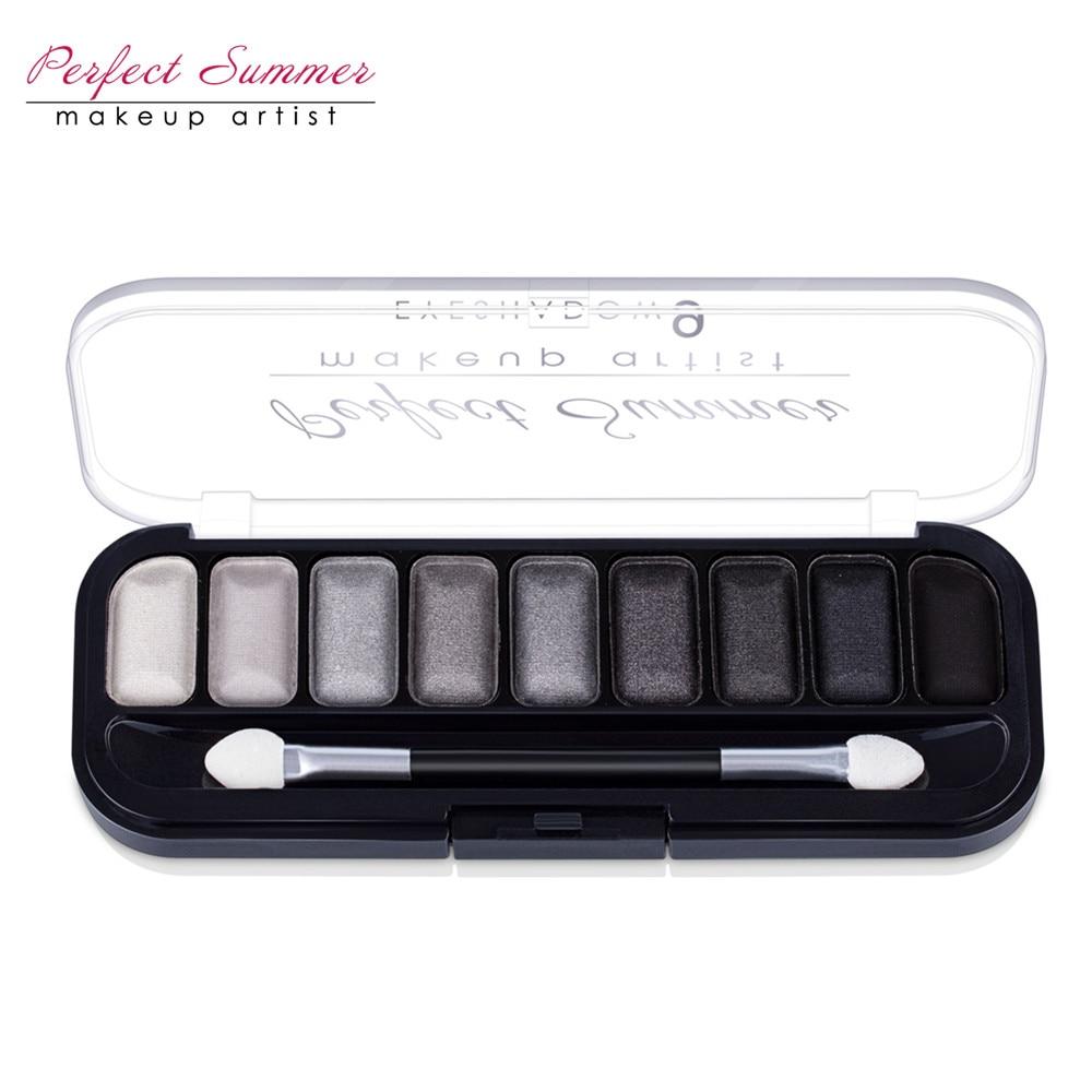 Идеальный летний 9 Цвет Профессиональный Классический Черный, серый цвет белый палитры теней для макияжа матовый Shimmer Тени для век