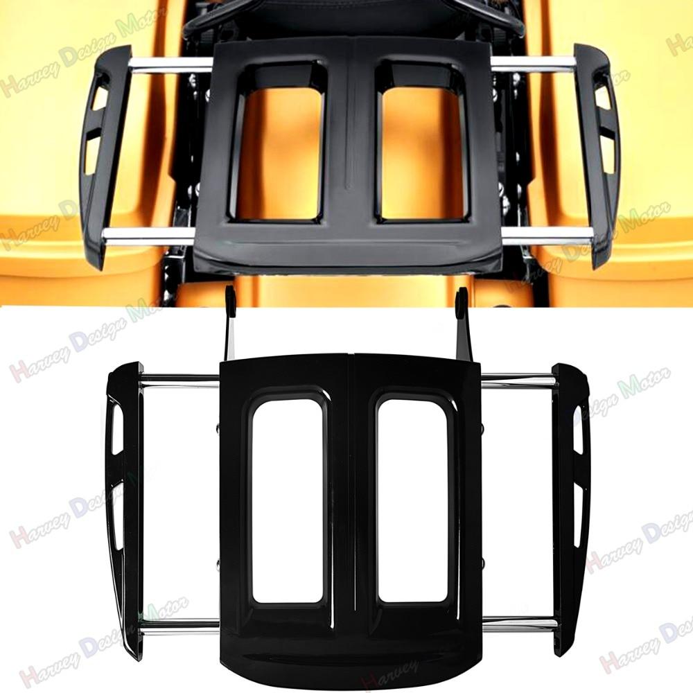 Регулируемый с двух сторон глянцевый черный багажная сетка для Harley гастроли апартаменты flh/Т FLHX FLHR 09-17 моделей