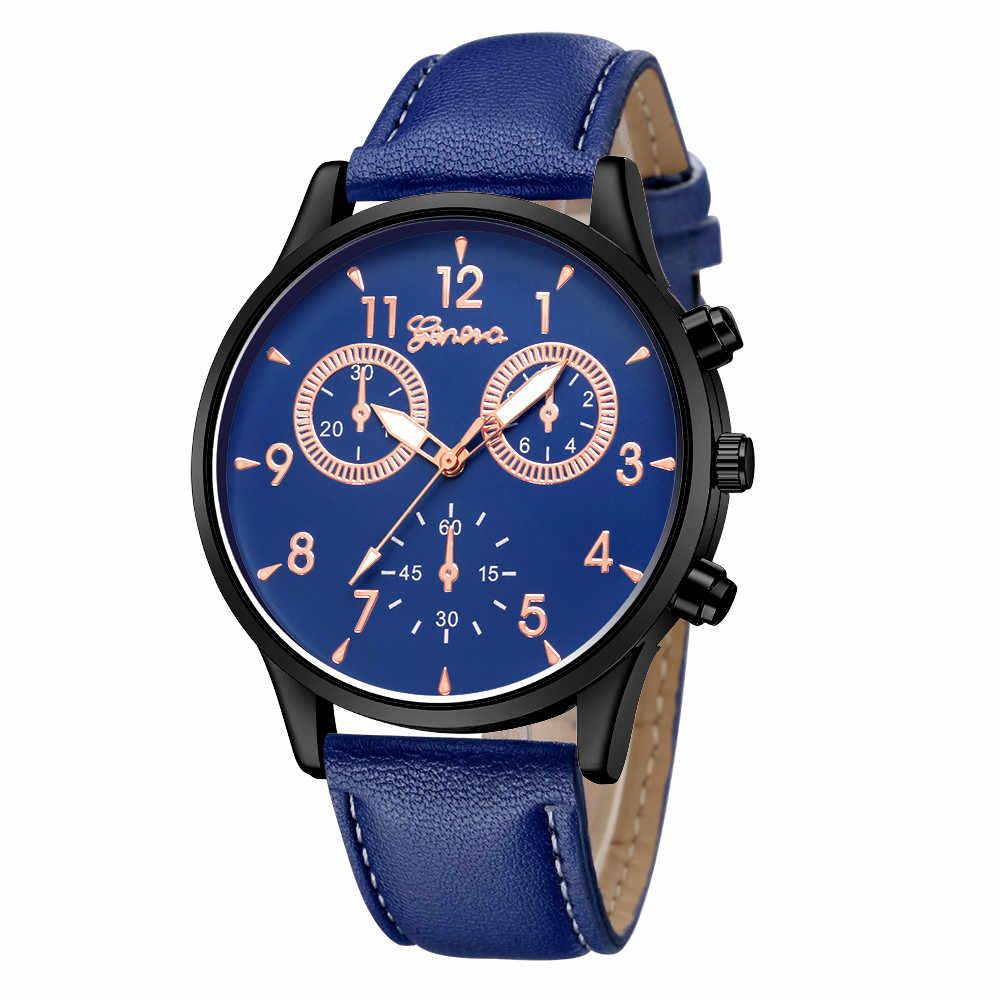 פנאי באיכות גבוהה גבר שעון אופנה גברים של עור צבאי מקרית אנלוגי קוורץ שעון יד עסקים שעונים זכר שעון 30X