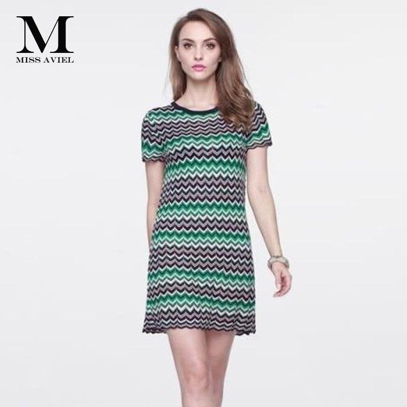 이탈리아 패션 스타일 높은 품질 2018 여름 브랜드 새로운 짧은 소매 니트 여자의 색 웨이브 스트라이프 활주로 드레스 한 크기-에서드레스부터 여성 의류 의  그룹 2