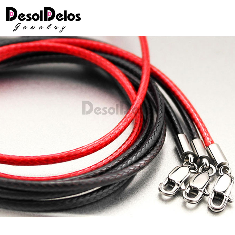 1 5mm 2mm 3mm Leather Waxed Cord Necklace Stainless Steel Lobster Clasp Connector Round Leather Rope Chain For DIY Jewelry 3pcs in Jewelry Findings Components from Jewelry Accessories