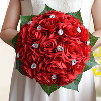 1pcs Artificial Rose Roses Flower Bridesmaid Wedding Bridal Bouquet White Satin Crystal Wedding Bouquets Bouquet Free Shipping