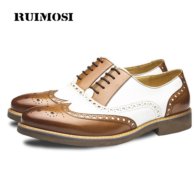 RUIMOSI Mixed Colors Man Wing Tip Brogue Shoes Genuine Leather Formal Dress Oxfords Round Toe Platform Bridal Men's Flats GD58