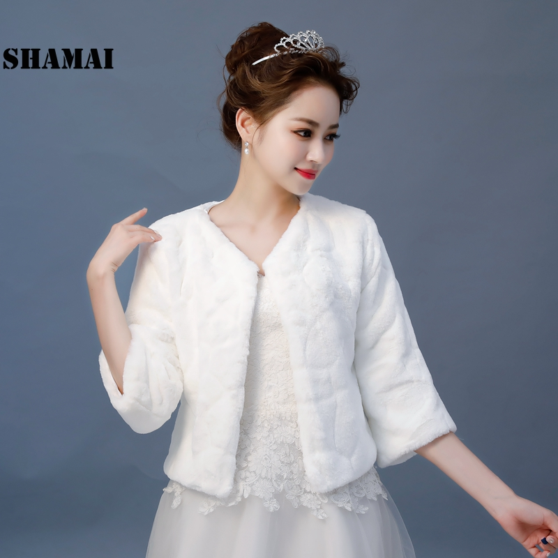 SHAMAI New Wedding Jacket Warm Faux Fur Wrap Bridal Coat 3/4 Sleeves Wedding Shrug Bride Accessories In Stock