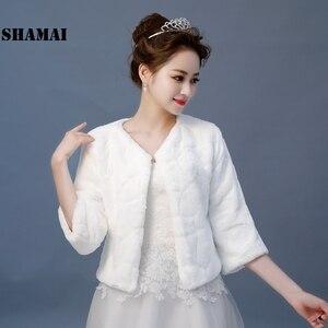 Image 1 - SHAMAI New Wedding Jacket Warm Faux Fur Wrap Bridal Coat 3/4 Sleeves Wedding Shrug Bride Accessories In Stock
