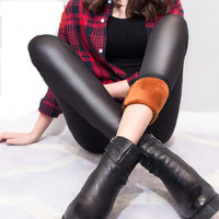 2016 New Fashion Women S Sexy Leggings Skinny Faux Leather Thick Leggings Pants High Waist Thick