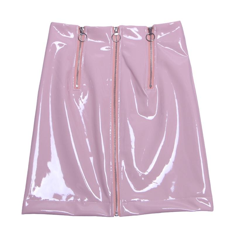 Mujer turquesa Alta rosado Cremallera Cielo Cadera Frontal Una Falda Patente Cintura Pu La Cuero Mini Palabra Nueva Paquete Mujeres De Limitada Con Azul Lolita Midi w8qZRxS