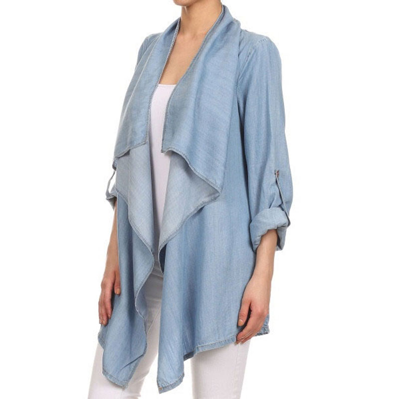 2016 Spring Summer Women Shirt Blouse Sky Denim Mature Blue Pure Fresh Clothes Bow Collar Grace Elegant Long Sleeve Female Shirt