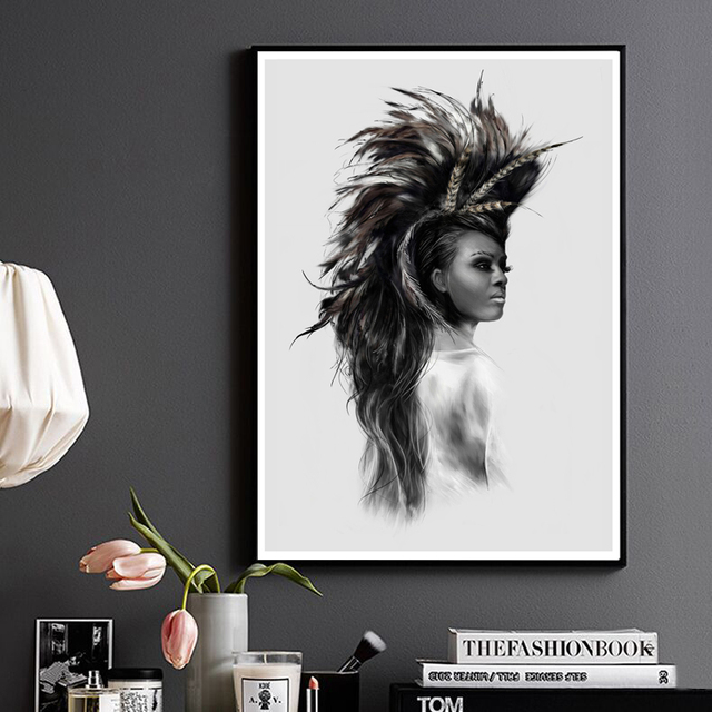 Black white artstic native american woman girl portrait living room wall home art decor canvas fabric