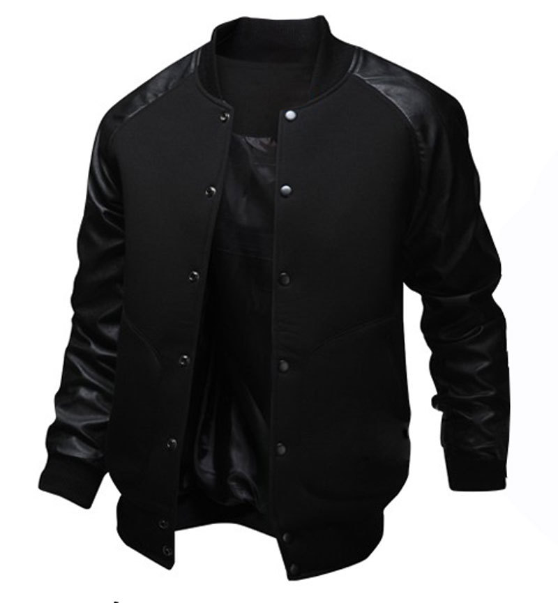 Brand Gray Baseball Jacket Men 2016 Fashion Design Pu Leather ...
