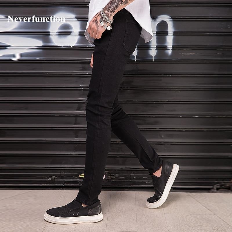 e40a9145f8a ... отверстия стрейч джоггеры скинни мужской джинсовой Штаны · Новый Для  мужчин Ripped Slim fit рваные джинсы черный 95% хлопок хип-хоп мода