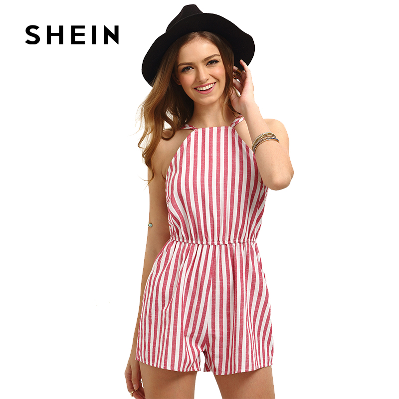 SHEIN Red Vertical Stripe Sleeveless Playsuit,2018 Summer Fashion Backless Sexy Romper for Beach Holiday,Women Cotton Jumpsuit