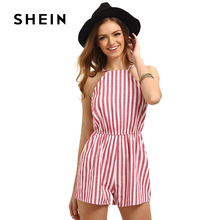 SHEIN Red Vertical Stripe Sleeveless Playsuit 2018 Summer Fashion Backless Sexy Romper for Beach Holiday Women