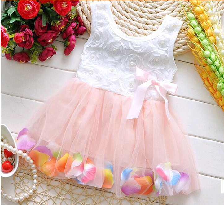 Summer New Lolita Baby Dress Floral Cotton Infant Fairy Tale Colorful Petals Dresses Chiffon Dress Princess Newborn Baby Gift