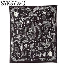 OK Eagle Bear Rose Flower Wall Hanging Tapestry New Design Black White Fashion Bohemia 145x165cm