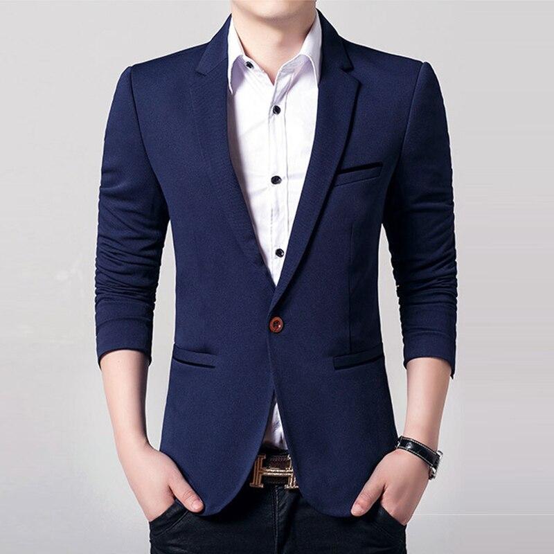 Fashion Suit Blazer Slim Fit Male Formal Dress Blazer Spring Autumn
