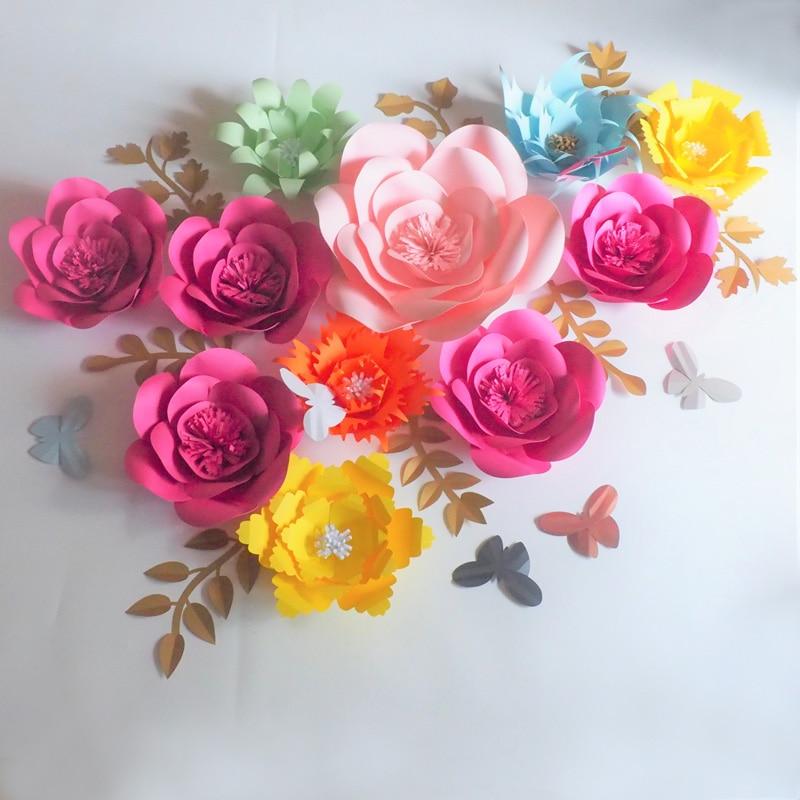 2018 Large Artificial Handmade Paper Flowers Backdrop 11PCS+Leaves 8PCS+Butterflies 7PCS Wedding & Event Decor Baby Nursery