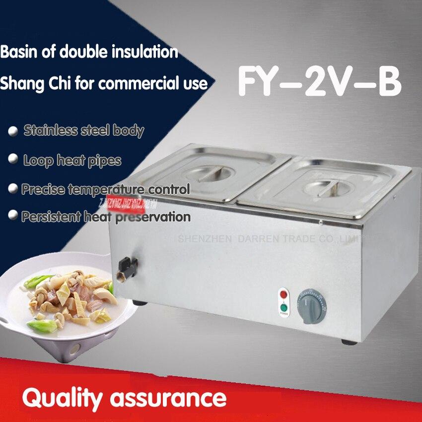 1 pz 220 v FY-2V-B Commerciale in acciaio inox elettrico bain marie macchina con 2 pentole di cibo caldo Tangchi1 pz 220 v FY-2V-B Commerciale in acciaio inox elettrico bain marie macchina con 2 pentole di cibo caldo Tangchi