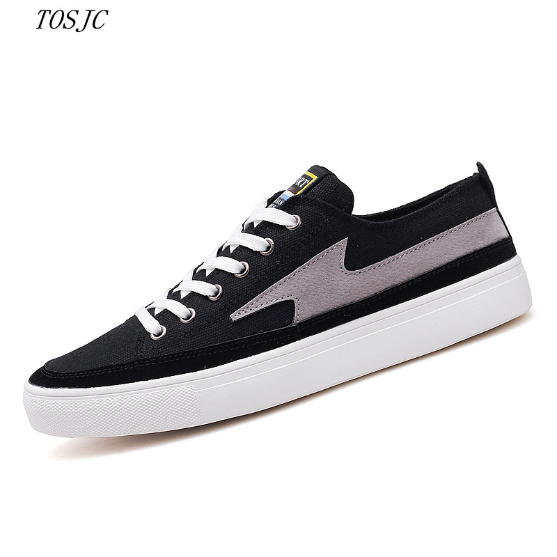 Man Breathable Valcanized Casual Shoes Flat Shoes Male Spring Teenage Shoes Fashion Male Canval Black Color Shoes School Boys
