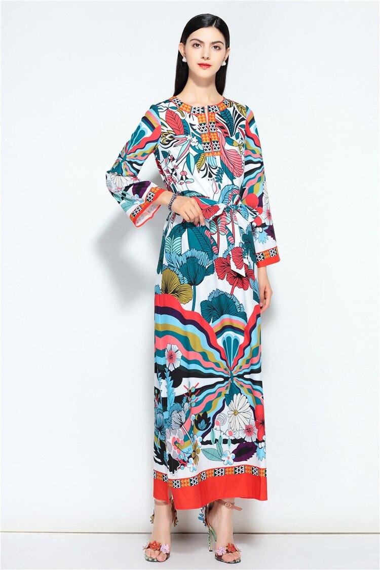 Larga Floral Cuello O Mujeres Manga Vestidos Impreso Multiple Del Verano Nueva Maxi Moda Cinturón Ocasional Diseño Sash De Las Llegada Loose IXqwcz10