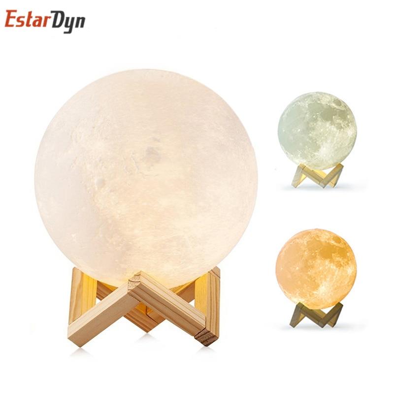 3D Print Moon Lamp Moon Light USB LED Rechargeable Novelty Touch Sensor Table Desk Lamp Creative Night Light Decor Birthday Gift