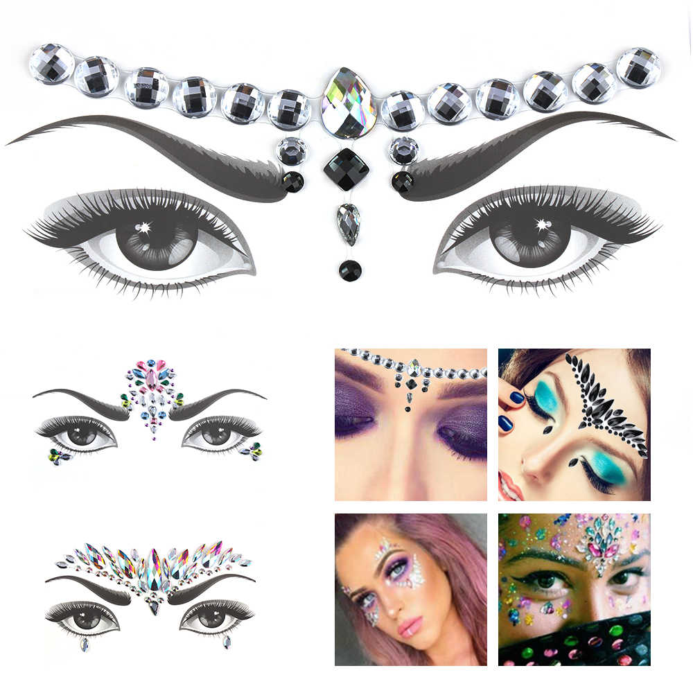 534395d1ba 1 PC NEW Make Up Adhesive Face Party Stickers Jewels Temporary Tattoo  Festival Body Gems Rhinestone Flash Tattoos Stickers