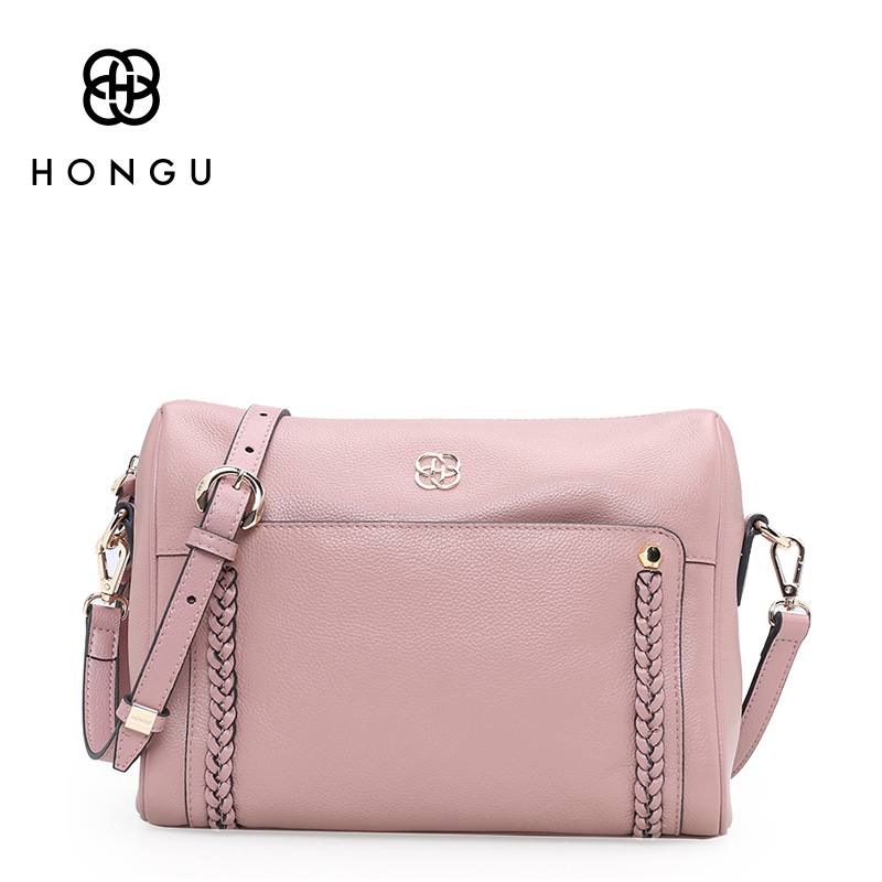 HONGU Genuine Leather Shoulder Messenger Bags for Women Pillow Shape Sac a Main Femme de Marque Luxe Cuir 2017 Black Pink Online 2017 new vintage black women shoulder bags chain bag plaid trunk women handbag sac a main femme de marque nouvelle collection