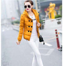 Пуховик хлопок короткая капюшон, корейский женщины зима куртка элегантный супер тёплый свет тонкий большой ярдов приталенный пальто G1993