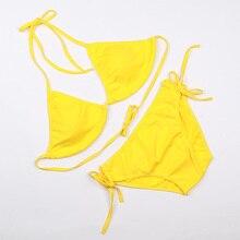 Фотография SISLYNLE swimsuit summer new Hot sexy pure color women bikini set bandage swimsuit brazilian multi-color swimwear bikini women