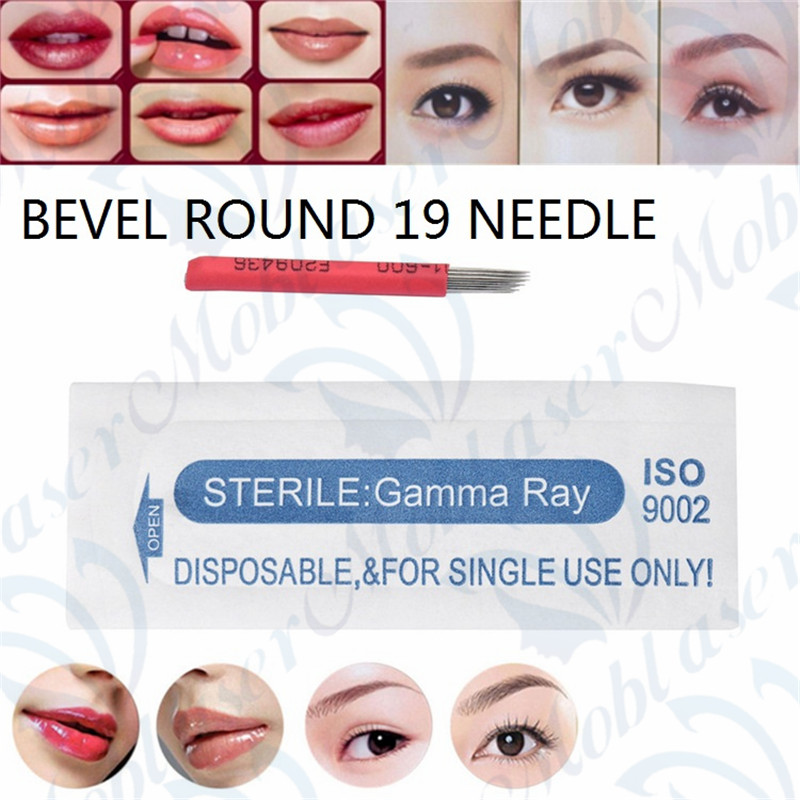 10 pcs 19R Round Needle Bevel Round For 3D Microblading Embroidery Eyebrow Lip Red Needle 19