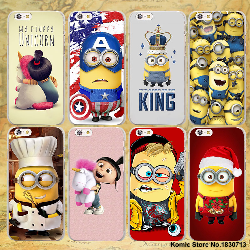 Funny Sale Minion My Unicorn Agnes christmas series hard transparent clear Cover Case for Apple iPhone 7 6 6s Plus SE 4s 5 5s 5c
