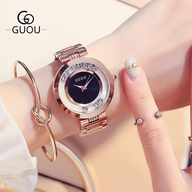 2017 Pretty GUOU Brand Bling Crystal Rose Gold Japanese Core Quartz Bracelet Gift Wrist Watch For