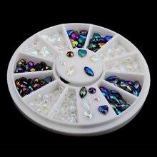 White Black Glitter AB Rhinestone Crystal Pearls Wheel Round Heart Design Acrylic Flat Back Nail Art Decoration 3D Tips Manicure
