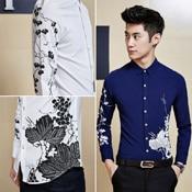 32b8024f375 Men s Smart Funky Wildflower Pattern Dress Shirts Slim Fit Casual ...
