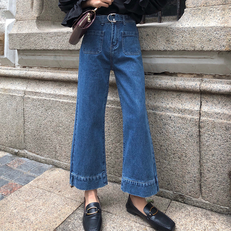2018 summer new women High waist slim strap student wild loose chic wide leg jeans 4