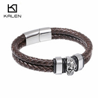 Kalen Hip Hop Rock Jewelry Wholesale Stainless Steel Skull Charm Leather Bracelet Double Layer Wrapped Bangle Wristband For Men