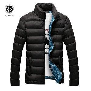 Image 2 - RUELK 冬のジャケットの男性 2019 ファッションスタンド襟男性パーカージャケットメンズ固体厚手のジャケットとコートの男冬パーカー m 6XL