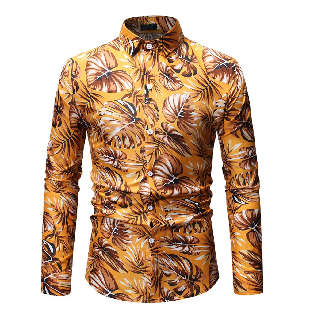 2019 New Fashion Print Dress Shirts Men Long Sleeve Casual Formal Shirt Men Slim Fit Wedding Shirt Male Clothing Tops  Feb11