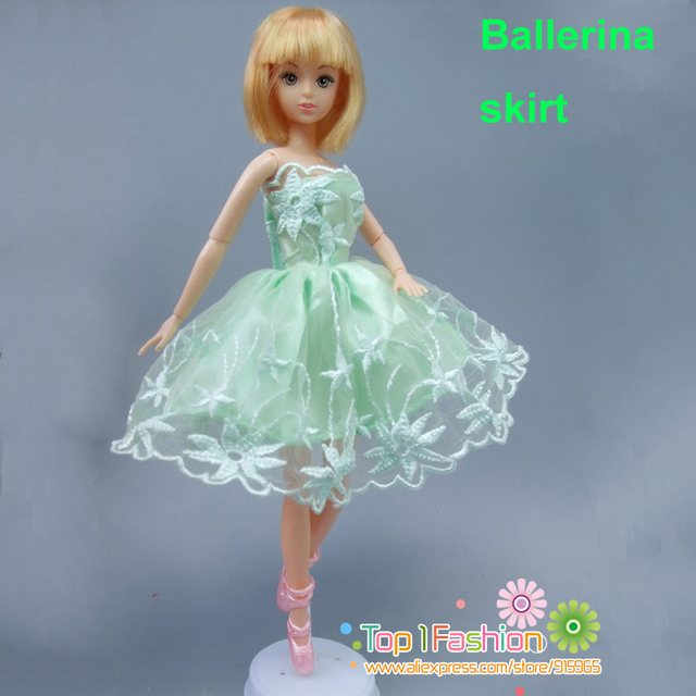 free shipping 1piece short ballet green dress for barbie doll dress ...